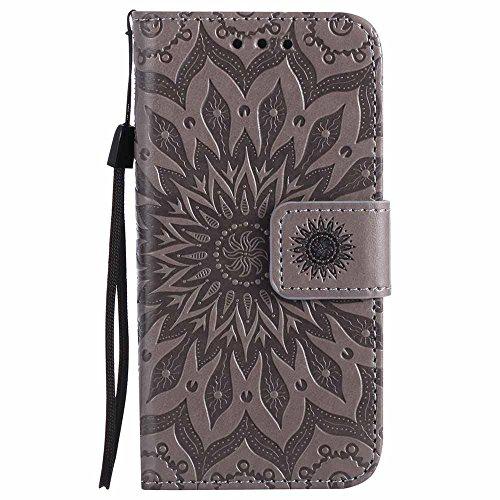 Dfly Custodia iPhone 5, Cover iPhone SE / 5, Premium PU Goffratura Mandala Design Custodia Super Sottile Flip Cover per iPhone 5 / 5S / SE, Grigio