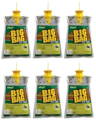 Rescue BFTD Disposable Big Bag Fly Trap, Catches Flies in Agricultural Areas with Non-Toxic Fast-Acting Fly Attractant, Holds Upto 40,000 Flies (Pack of 6)