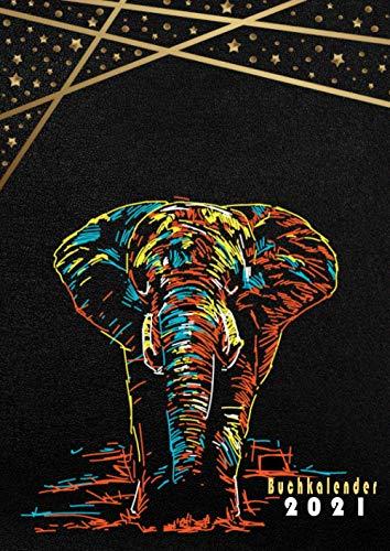 Buchkalender 2021: XXL a4 groß kalender 2021 mit zeiteinteilung -schwarz/Elefant-Kalenderbuch 2021 1 tag 1 seite Tagesplaner 365 Tage ,12 monate von Januar bis Dezember 2021 I tag für tag