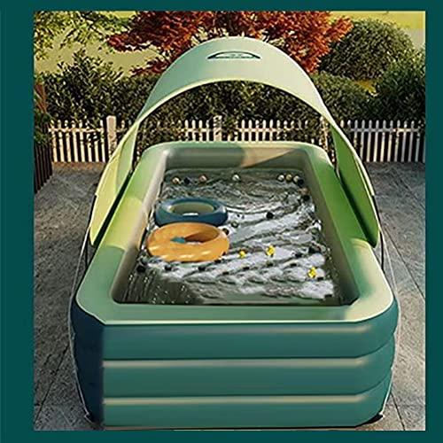 J-ouuo Kiddle - Piscina hinchable para adultos y niños, con tobogán de agua, rectangular, con sombrilla para jardín