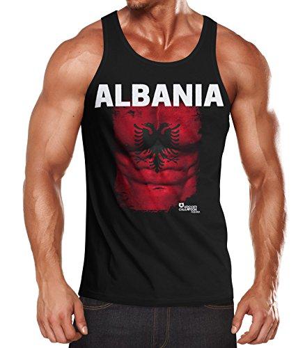 MoonWorks EM Tanktop Herren Fußball Albanien Albania Flagge Fanshirt Waschbrettbauch Muskelshirt schwarz S