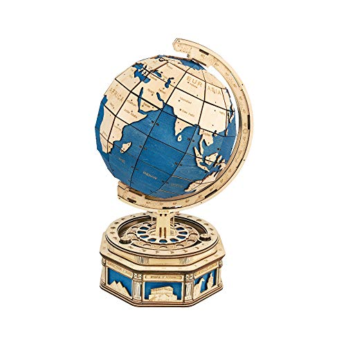 Hands Craft Globe Earth Model- DIY 3D Wooden Puzzle, with Secret Locker, Fun Educational STEM Project for Kids (14+) and Adults (ST002)