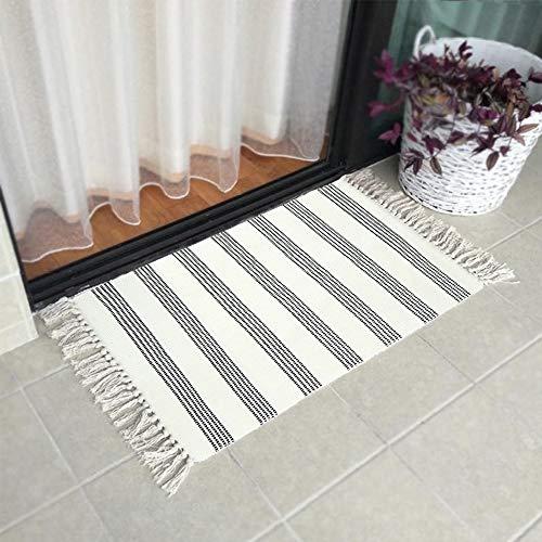 Cotton Area Rug 2' x 3' LEEVAN Tassel Door Mat Cotton Line Indoor Floor Mat Bohemian Hand Woven Geometric Carpet Chic Printed Bedside Rugs for Living Room Bathroom Enterway