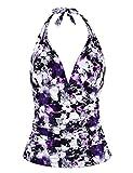 Hilor Women's Plunging V Neck Halter Swim Tops Shirred Tankini Tops Purple Floral 12