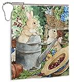 EU Duschvorhang 60 x 72 Zoll Kaninchen Blume Gießkanne Bad Stoff Duschvorhänge Set mit Haken, wasserabweisend, maschinenwaschbar
