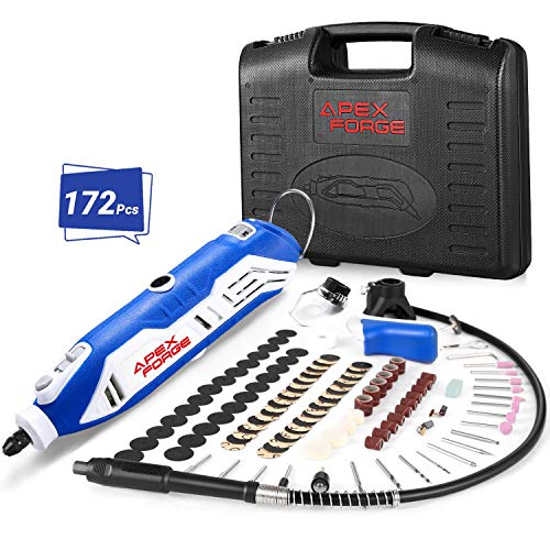 Rotary Tool Kit, APEXFORGE Tool with MultiPro Keyless Chuck and Flex Shaft, 172 Accessories, 4 Attachments & Carrying Case, Combitool for Craft Projects, DIY Creations, Cutting, Engraving-M6-Blue