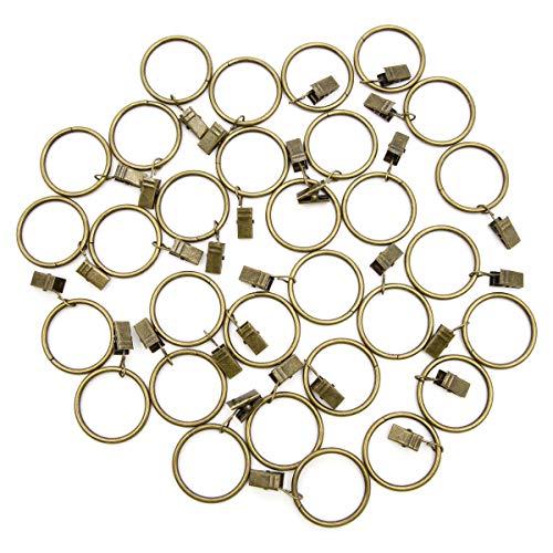 Anladia 30 Stück 38mm Durchmesser Gardinenringe mit Clips Metall Vorhangringe für Gardinenstangen (Bronze)