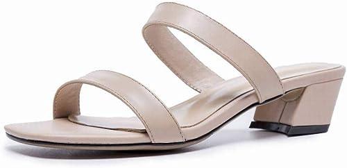 SPONSOKT Sandales Femme été Noir Mot Talon Haut avec des Chaussures à Bout Ouvert épais avec des Sandales Chaussures Femme Romaine, Apricot, 37