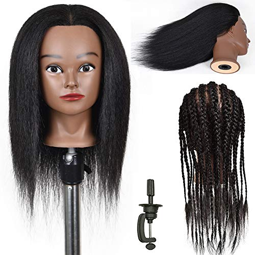 Mannequin Head with Human Hair Real Hair Mannequin Heads Human Hair Manikin Head for Cosmetology Mannequin Head with Hair 100% Real Hair Doll Head for Hair Styling With Free Clamp
