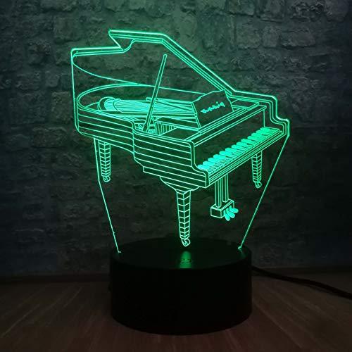 3D Illusion Lampe Musikinstrument Retro Klavier 3D USB LED Lampe 7 Farben Glühbirne Musiker Geschenk Kind Schlafzimmer Dekoration Elegante NachtlichterLava