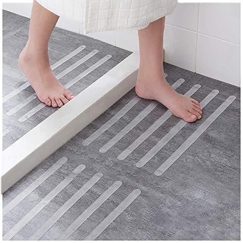 Ecooe 16x Anti-Rutsch Streifen für Treppen,Duschen & Badewannen Selbstklebender Rutschschutz 45cm lang 2cm breit Transparent Klebestreifen mit Positionier-Schablone