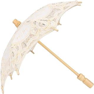 Lace Umbrella, Bridal Lace Cotton Umbrella for Photography Prop, Celebration Decor, Stage Performance, Dancing(Beige S)