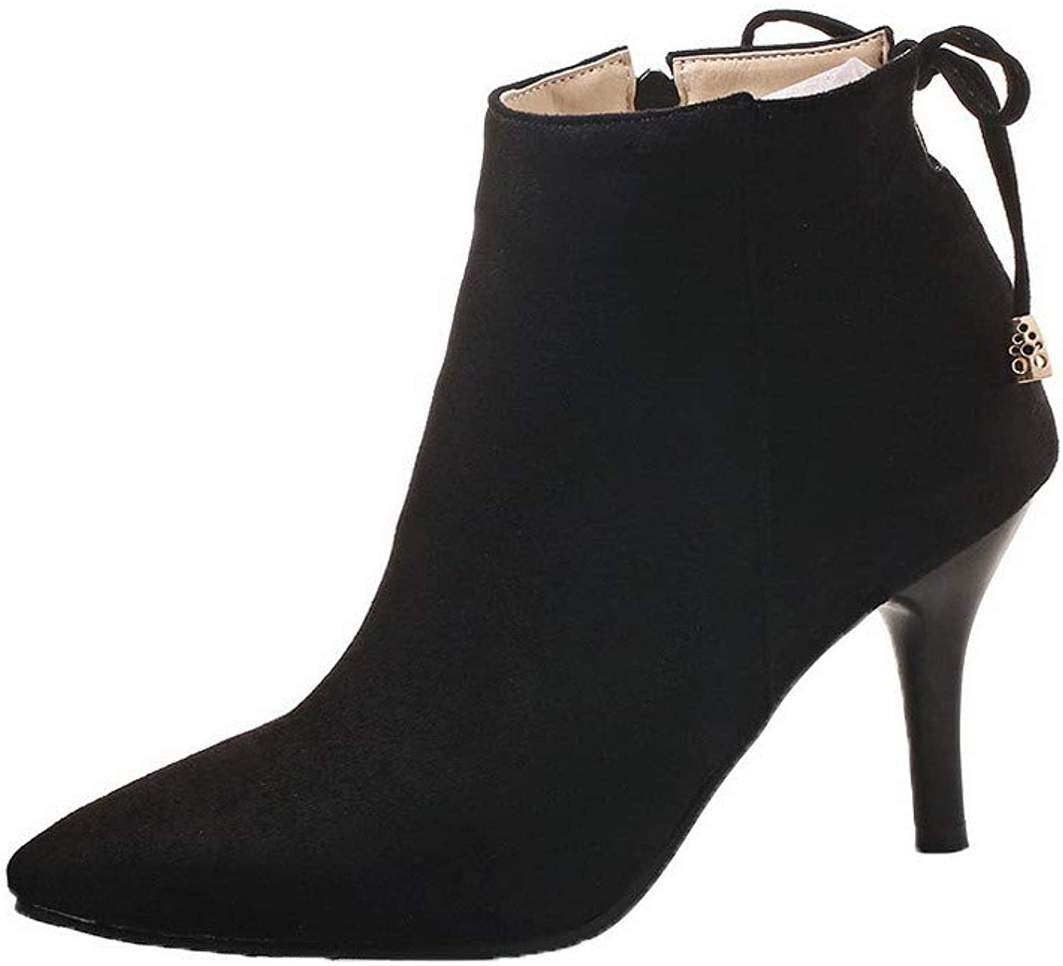 AmoonyFashion Women's Ankle-High Imitated Suede High-Heels Closed-Toe Boots, BUSXT122377