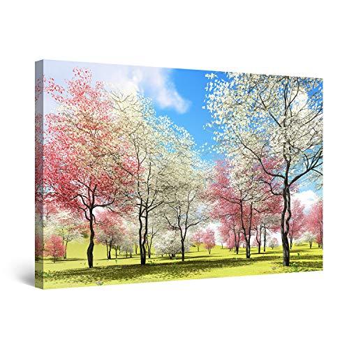 Startonight Cuadro Moderno en Lienzo Paisaje del Cielo Árboles con Flores de Color Rosa Blanco, Pintura Abstracta para Salon Decoración Grande 80 x 120 cm