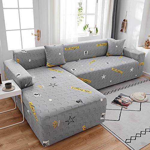 Fsogasilttlv Funda elástica con Funda de sofá 3 plazas y 4 plazas 2PCS, Funda de sofá elástica para Sala de Estar Funda de sofá, Funda de sofá Chaise en Forma de L Universal N