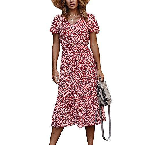 HJKH Vestidos de Verano V-Cuello de Partido Ocasional de la Playa Vestido Largo Verano de Las señoras del botón Floral Vestido de Fiesta Fiesta Casual Salir (Color : Red, Size : XL)