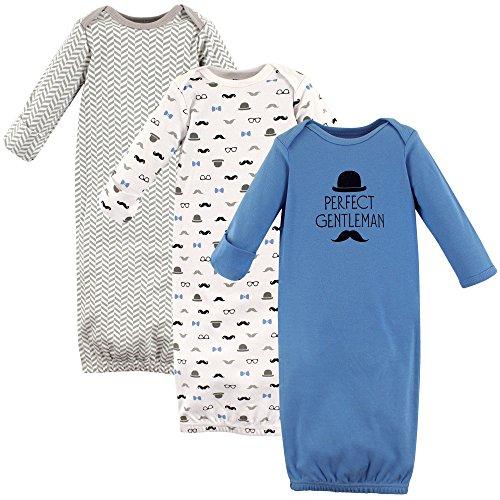 Hudson Baby Unisex Cotton Gowns, Perfect Gentlemen, 0-6 Months