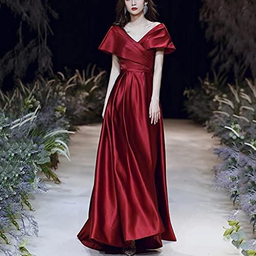 LEPSJGC A-Line Abendkleid Doppel V-Ausschnitt Prom Kleid Kurzer Kappenhülse Party Robe Lange Formale Frauen Kleid (Color : Red wine, Size : 10)