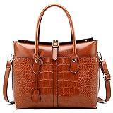 Pahajim Handtaschen Mode Damen Tasche Krokoprägung Schulter geschlungene Handtasche PU Leder Umhängetasche Elegante Einfache Handtasche Schulter(Brown)
