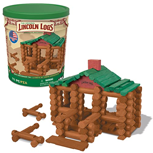 LINCOLN LOGS –100th Anniversary Tin-111 Pieces-Real Wood Logs-Ages 3+ - Best Retro Building Gift Set for Boys/Girls - Creative Construction Engineering – Top Blocks Game Kit - Preschool Education Toy