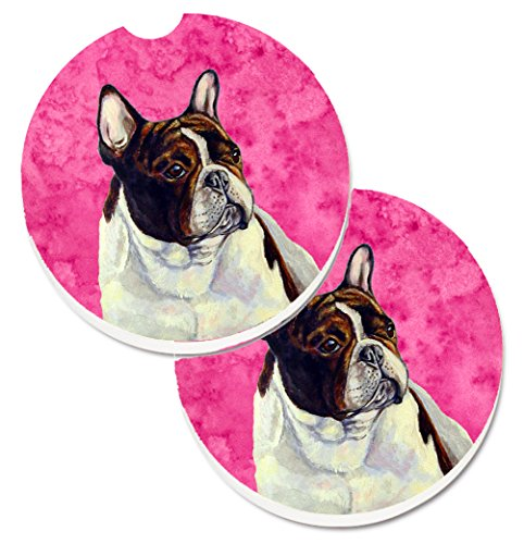 Caroline's Treasures LH9382PKCARC Pink French Bulldog Set of 2 Cup Holder Car Coasters, Large, multicolor