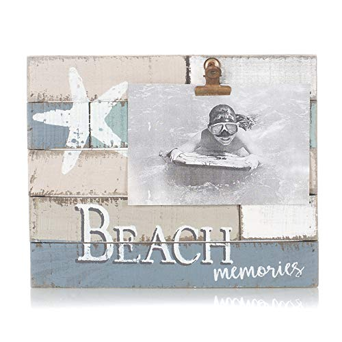 Starfish Beach Memories Photo Clip Holder Blue Color Block Design 9.5 x 7.5 Pallet Wood Style Wall Sign Plaque