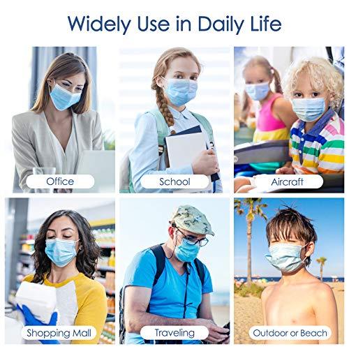 Einwegmaske 3 lagige Gesichtsmaske IDOIT,Atemschutzmaske Mundschutz Maske 50 Stück,Elastische Ohrschlaufen Filter Gesichtsschutz für zu Hause/im Büro/in der Schule/im Freien - 5