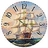 Relojes de Pared Reloj Decorativo para Dormitorio Sala de Estar Cocina La Pintura del Barco de navegación y el Aceite de la Onda del mar Decoración de Pared Redonda 25cm