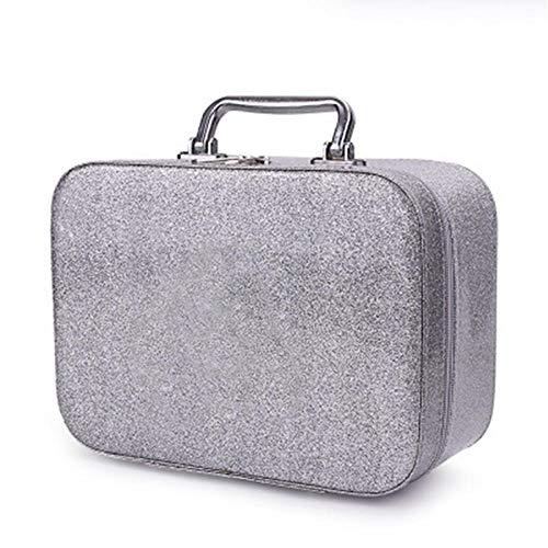 Kosmetiktaschen Frauen Make-up Fall Box tragbare Schönheit Reisetasche Vitrine Modehalter Organizer-Silver_12 * 18,5 * 18,5 cm