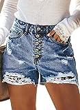 Dokotoo Womens Summer Button Up Ripped Denim Shorts...