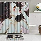 KISSENSU Cortinas con Ganchos,Gótico Sexy Desnudo Mujer Chica Breast Art SPA,Cortina de Ducha Alfombra de baño Bañera Accesorios Baño Moderno