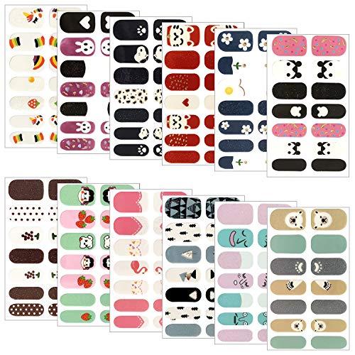 Gresunny 12 Hojas pegatinas uñas decorativas autoadhesivas nail stickers full cover DIY arte de uñas impermeable manicura francesa...