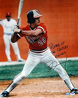 """PETE INCAVIGLIA AUTOGRAPHED 16X20 PHOTO OKLAHOMA STATE COWBOYS""""PLAYER OF THE CENTURY 100 HRS"""" PSA/DNA STOCK #101883"""