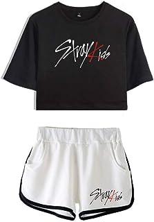 FEIRAN Stray Kids Boy Band Short Shorts de Manga Corta para Mujer y niña Top + Shhort Set D Black + White XXL