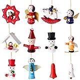 Toyvian 12 Stücke Weihnachten Deko Figuren Weihnachtsbaum Anhänger Holzanhänger Christbaumanhänger Holz Christbaumschmuck Baumschmuck Weihnachtsdeko zum Aufhängen (Upgraded Performance)