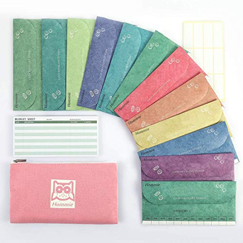 Hommie Cash Envelopes for Budgeting System- 12 Money Envelopes for Saving with 1 Pink Carry Pouch & 15 Expense Tracking Budget Sheets