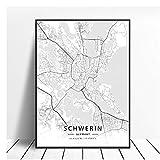 GIRDSS Schwerin Deutschland Leinwand Kunst Karte Poster