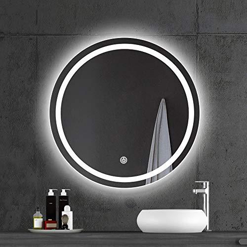 Ping Bu Qing Yun Espejo de baño, montado en la pared de maquillaje baño con luz luz blanca espejo redondo suave luz de la lámpara de alta definición caliente, 60 cm, 70 cm, 80 cm, 90 cm espejo decorat