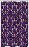 ABAKUHAUS Mandala Cortina para baño, Vibrante Floral Adornado, Decorativa 100% Poliéster Set con Ganchos incluídos, 120 x 180 cm, Naranja Azul Pálido Púrpura
