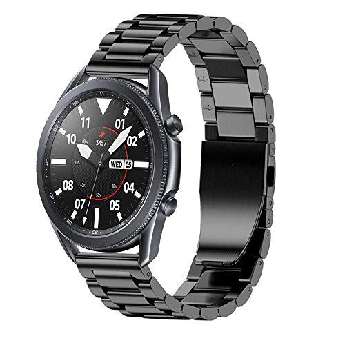 Correa compatible con Samsung Galaxy Watch 3 de 45 mm, correa de acero inoxidable de enlace sólido, pulsera de repuesto de metal para Galaxy Watch de 46 mm Watch 45mm(Width 22mm)