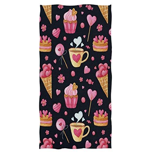Toallas de Mano extragrandes Candy Ice Cream Cake Cup Heart Sweet Toalla de baño Absorbente Ultra Suave Toalla de baño Multiusos para la Mano, la Cara (40x70cm)