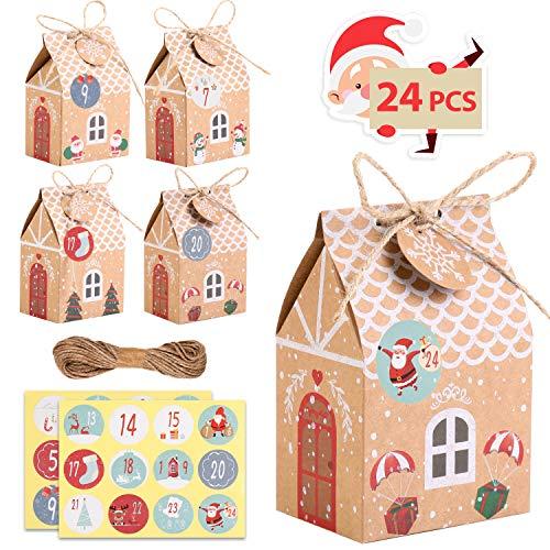 KATELUO 24 Cajas de Regalo Navidad, Calendario de Adviento,Bolsa para Calendario de Adviento, con 24 Pegatinas para Navidad, Fiesta, Decoración de Regalos(24 Piezas, 4Patrones)