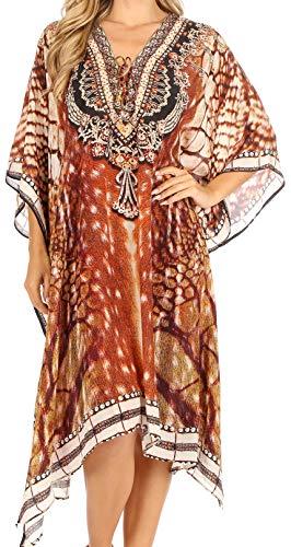 Sakkas P2 - Kristy Long Tall Light Caftan Dress Cover Up with V-Neck Jewels - sbr123-brown - OS