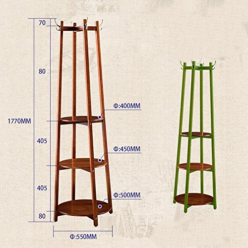 MEIDUO Étagères 8 crochets Cintre en bois solide de plancher de support de manteau pour la chaussure et le support de chapeau très durable (Couleur : Noyer)