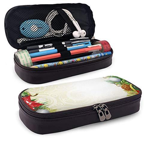 Schattig potlood CaseAbstract omzoomde achtergrond met kerstboom patroon Baubles kaars feestelijke thema perfecte houder voor potloden en pennen
