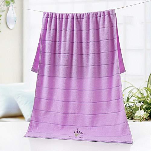 LIGUANGWEN Ducha Adultos Algodón Mezcla Baño Toalla Grandes Toallitos Mano Cara Hoja Hoja Suave Lavanda Bordado Absorbente Grueso 70 * 140 Cm (Color : Purple)
