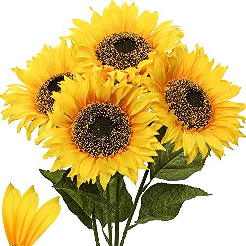 Künstliche Sonnenblumen Kunstblumen Dekorative Seidenblumen Kunstpflanzen Sunflowers für Hochzeit Party Tischdeko Dekoration 4 Stücke