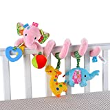 Singring Baby Pram Crib Cute Pink Elephant Design Activity Spiral Plush Toys Stroller and Travel Activity Toy
