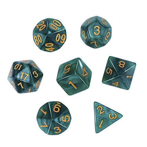 eBoot Dados Poliédricos Set de 7-Dados para Dungeons y Dragons con Bolsa Negra (Verde)