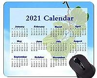 2021カレンダーマウスパッドゲーミングマウスパッド、葉付きマウスパッドの小枝のクローズアップ